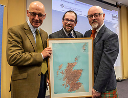 Pictured: John Swinney, Dr Michael Dempster, Director of Scots Language Center and Stewart Bremner, who helped develop the digital map.<br /><br />Deputy First Minister John Swinney headed to perth today to help with a Digital Scots Map launch. Scots Language Centre director Dr Michael Dempster, and children from Robert Douglas Memorial Primary School and Perth High School help qwith the developme nt and launch of Gaun hame, the first Scots language digital map of Scotland<br /><br />Ger Harley | EEm 20 September 2019