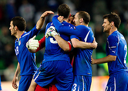 Leonardo Bonucci, scorer Thiago Motta,  Giorgio Chiellini and Gianluigi Buffon of Italy celebrate after the EURO 2012 Quaifications game between National teams of Slovenia and Italy, on March 25, 2011, SRC Stozice, Ljubljana, Slovenia. Italy defeated Slovenia 1-0.  (Photo by Vid Ponikvar / Sportida)