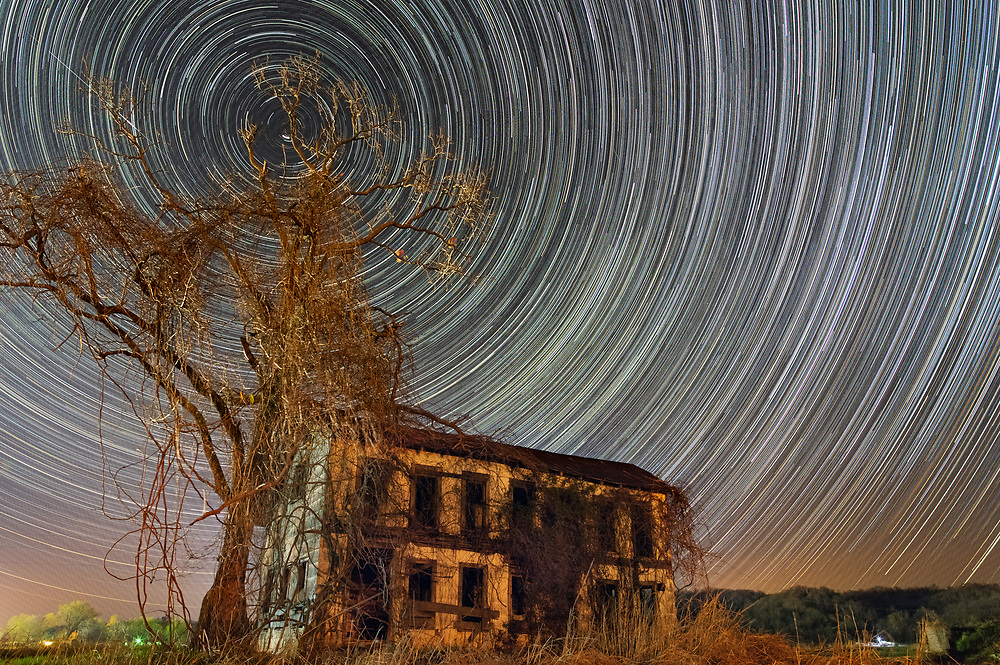 A desolate house, succumbing to time and nature, yet stands against a wicked looking tree and the stars circling overhead at night.