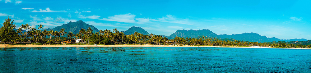 Panorama of Kailua Beach & the Koolau Mountain Range, Kailua Bay, Oahu, Hawaii