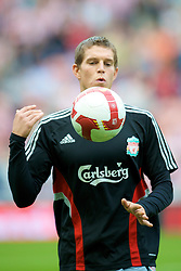 SUNDERLAND, ENGLAND - Saturday, August 16, 2008: Liverpool's Daniel Agger warms-up before the opening Premiership match of the season against Sunderland at the Stadium of Light. (Photo by David Rawcliffe/Propaganda)