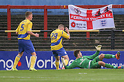 Accrington Stanley forward Billy Kee  can't believe he's missed during the Sky Bet League 2 match between York City and Accrington Stanley at Bootham Crescent, York, England on 28 November 2015. Photo by Simon Davies.