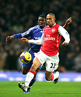 Photo: Tom Dulat/Sportsbeat Images.<br /> <br /> Arsenal v Chelsea. The FA Barclays Premiership. 16/12/2007.<br /> <br /> Gael Clichy of Arsenal and Shaun Wright-Phillips of Chelsea with the ball.
