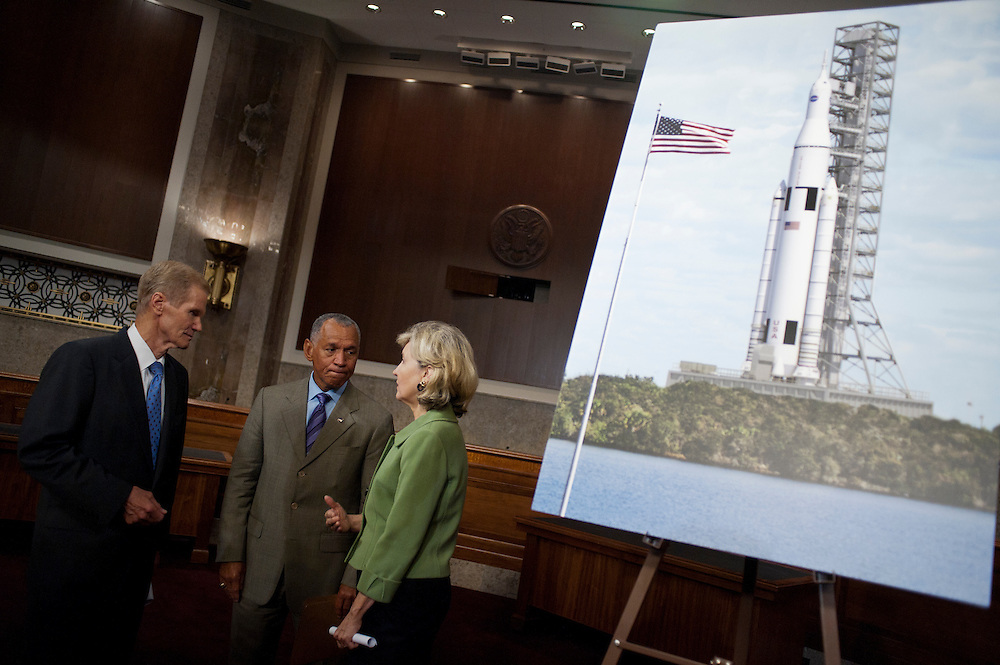 Senator KAY BAILEY HUTCHISON (R-TX), Senator BILL NELSON (D-FL), National Aeronautics and Space Administration (NASA) Administrator CHARLES BOLDEN hold a news conference on Capitol Hill Wedneday to discuss a new Space Launch System that will take astronauts farther into space than before. NASA says the system will create high-quality jobs and provide the cornerstone for America's future human space exploration efforts.