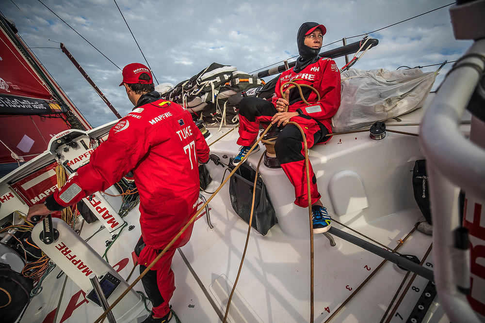 Leg 6 to Auckland, day 03 on board MAPFRE, Sophie Ciszek holding the main sail. 09 February, 2018.