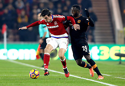 Antonio Barragan of Middlesbrough takes on Adama Diomande of Hull City - Mandatory by-line: Robbie Stephenson/JMP - 05/12/2016 - FOOTBALL - Riverside Stadium - Middlesbrough, England - Middlesbrough v Hull City - Premier League