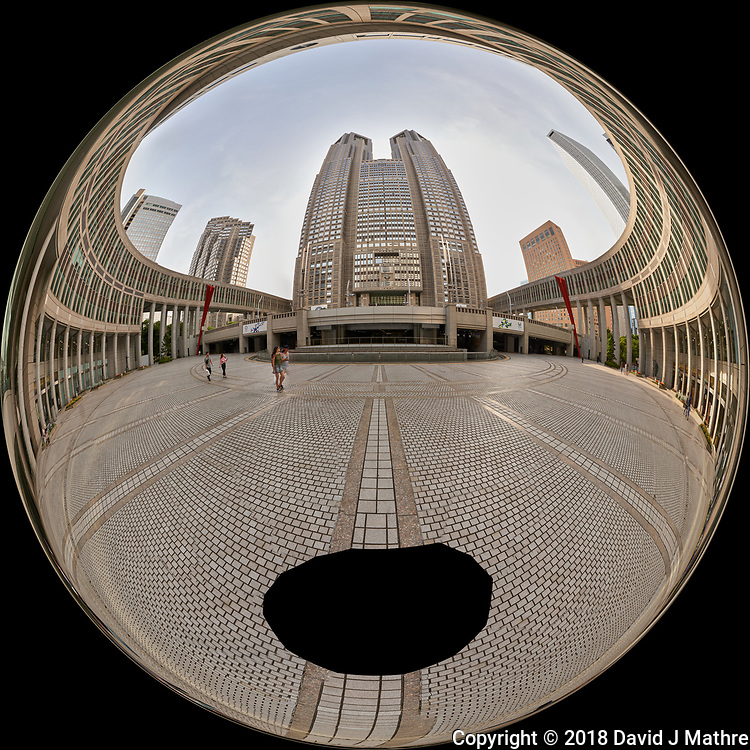 Afternoon Mirror Ball View of Citizen's Plaza and the Metropolitan Government Building. Composite of 45 images taken with a Leica CL camera and 11-23 mm wide-angle zoom lens (ISO 100, 11 mm, f/11, 1/60 sec). Raw images processed with Capture One Pro and AutoPano Giga Pro.