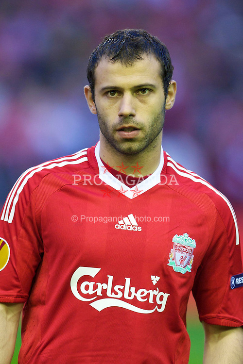 LIVERPOOL, ENGLAND - Thursday, April 29, 2010: Liverpool's Javier Mascherano before the UEFA Europa League Semi-Final 2nd Leg match against Club Atletico de Madrid at Anfield. (Photo by: David Rawcliffe/Propaganda)