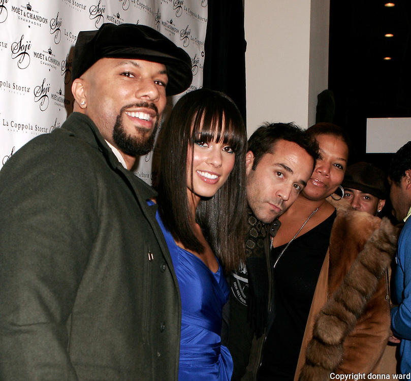 Common, Alecia Keys, Jeremy Piven and Queen Latifah pose at his Soji hat launch at Coppola Storta in the East Village on Tuesday, January 23, 2007 in New York.