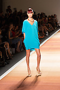 A electric blue tunic dress with v-neckline.