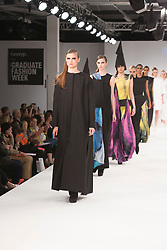 © Licensed to London News Pictures. 31/05/2015. London, UK. Collection by Paula Talia. Fashion show of UCA Epsom at Graduate Fashion Week 2015. Graduate Fashion Week takes place from 30 May to 2 June 2015 at the Old Truman Brewery, Brick Lane. Photo credit : Bettina Strenske/LNP