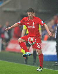 SWANSEA, WALES - Sunday, May 1, 2016: Liverpool's Cameron Brannagan in action against Swansea City during the Premier League match at the Liberty Stadium. (Pic by David Rawcliffe/Propaganda)