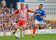 Dean Winnard and Gary Roberts during the Sky Bet League 2 match between Portsmouth and Accrington Stanley at Fratton Park, Portsmouth, England on 5 September 2015. Photo by Adam Rivers.