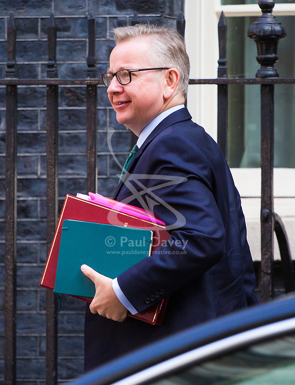 London, July 4th 2017. Secretary of State for Environment, Food and Rural Affairs Michael Gove attends the weekly cabinet meeting at 10 Downing Street in London.