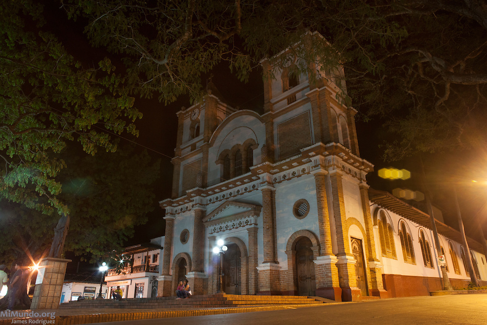 Church of the Immaculate Conception at night. Ciudad Bolivar, Antioquia, Colombia. September 25, 2013.