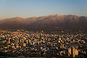 Santiago, Chile backed by Andes Mountains