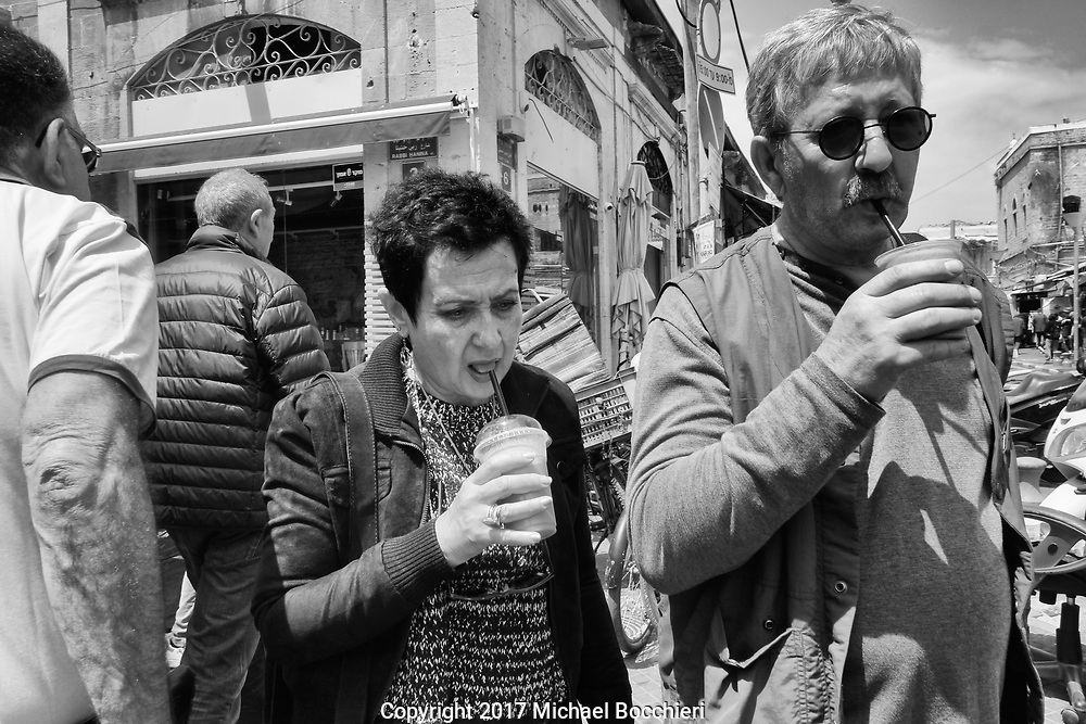 TEL AVIV,  - April 14:  People drink beverages in the old city of Jaffa on April 14, 2017 in TEL AVIV, Israel.  (Photo by Michael Bocchieri/Bocchieri Archive)