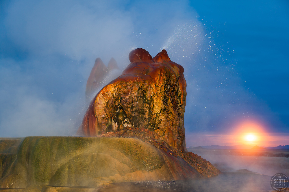 """Fly Geyser at Night 2"" - Photograph of the famous man made Fly Geyser in Nevada, shot at night. The full moon can be seen in the distance."