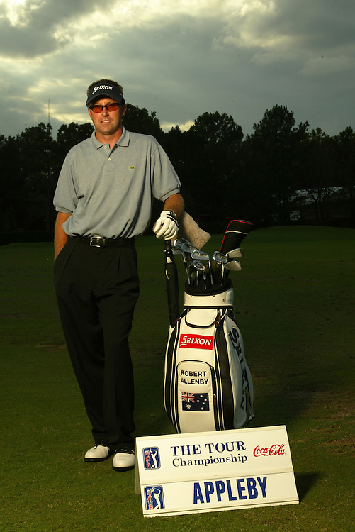 Robert Allenby..NOTE: YES, THE NAME ON THE SIGN IS INCORRECT. THAT'S THE POINT...2003 Tour Championship.Champions Golf Club.Houston, TX.November 4, 2003..photograph by Darren Carroll