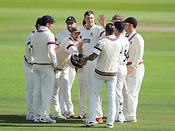 Somerset celebrate the wicket of James Vince.  - Mandatory byline: Alex Davidson/JMP - 07966386802 - 12/09/2015 - CRICKET - The County Ground -Taunton,England - Somerset CCC v Hampshire CCC - Day 4