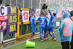 March 18, 2018 - Turin, Piedmont, Italy - Jordan Veretout (ACF Fiorentina) celebrates with team mates after scoring the opening goal during the Serie A football match between Torino FC and ACF Fiorentina at Olympic Grande Torino Stadium on 18 March, 2018 in Turin, Italy. Final results: 1-2  (Credit Image: © Massimiliano Ferraro/NurPhoto via ZUMA Press)