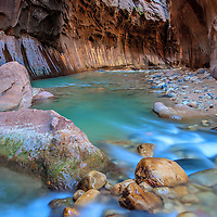 The Virgin River flowing though the Narrows in Zion National Park.