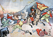 First Sino-Japanese War 1894-1895, fought mainly for control of Korea.  A mounted Japanese office seizing a Chinese flag. Illustration based on a Japanese painting.  From 'Le Petit Journal', Paris, 29 October 1894. Gun, Cannon ,Rifle