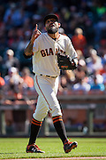 San Francisco Giants relief pitcher Sergio Romo (54) points to the sky after pitching in the eighth inning against the Arizona Diamondbacks at AT&T Park in San Francisco, Calif., on August 31, 2016. (Stan Olszewski/Special to S.F. Examiner)