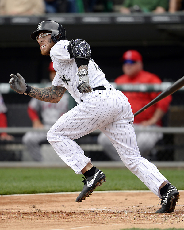 CHICAGO - APRIL 21:  Brett Lawrie #21 of the Chicago White Sox hits a double in the second inning against the Los Angeles Angels of Anaheim in the eighth inning on April 21, 2016 at U.S. Cellular Field in Chicago, Illinois.  The Angels defeated the White Sox 3-2.  (Photo by Ron Vesely)   Subject: Brett Lawrie