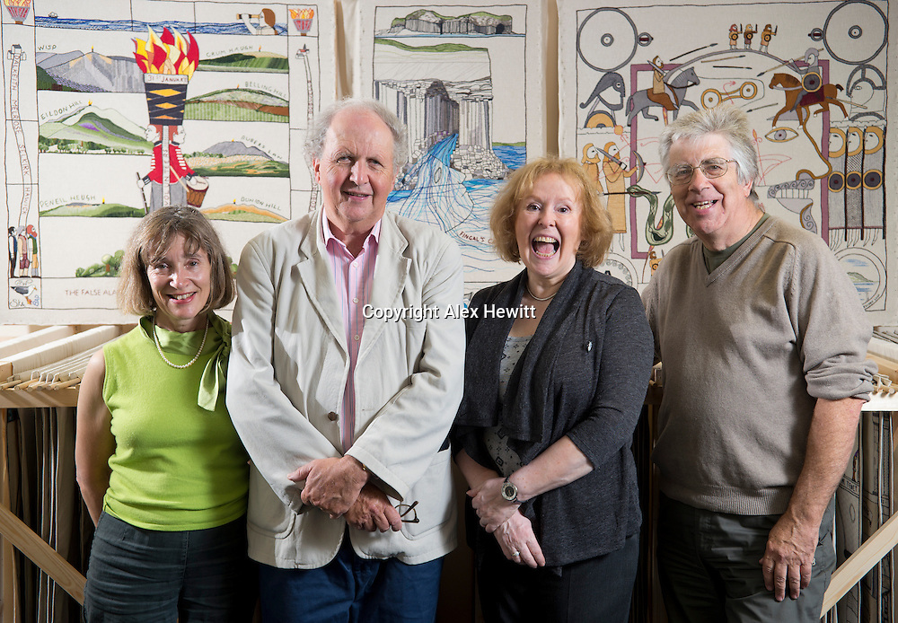Alexander McCall Smith stands with his wife Elizabeth and Dorie Wilkie and her husband Tom in front of finished panels stretching and in racks for the Great Tapestry of Scotland project. Photographed at the Hub in Eskbank<br /> www.scotlandstapestry.com<br /> <br /> pictures by Alex Hewitt