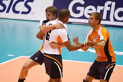 01-09-2012 VOLLEYBAL: WORLD LEAGUE 2013 QUALIFICATION NETHERLANDS - PORTUGAL : ROTTERDAM<br /> Jelte Maan, Tony Krolis and Gijs Jorna celebrate a point for The Netherlands