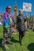 A day after the election result protestors gather to ask for Theresa May to quit and not do a deal with the DUP. Who people fear because of their views on abrtion, gay marriage etc. Westminster, London, 10 Jun 2017