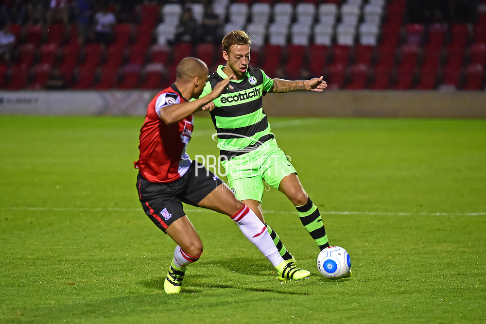 Forest Green defender Ben Jefford (3) in action during the Vanarama National League match between Woking and Forest Green Rovers at the Kingfield Stadium, Woking, United Kingdom on 16 August 2016. Photo by Jon Bromley.