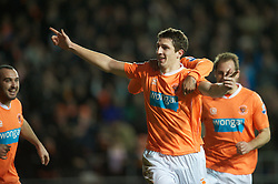 BLACKPOOL, ENGLAND - Tuesday, January 25, 2011: Blackpool's Craig Cathcart celebrates scoring the opening goal against Manchester United during the Premiership match at Bloomfield Road. (Photo by David Rawcliffe/Propaganda)