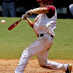 June 05, 2011; Tallahassee, FL, USA; Alabama Crimson Tide catcher Brock Bennett (41) hits a single during the seventh inning of the Tallahassee regional of the 2011 NCAA baseball tournament against the UCF Knights at Dick Howser Stadium. Mandatory Credit: Derick E. Hingle