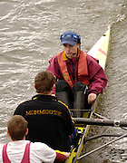 Chiswick, LONDON, ENGLAND, 25.03.2006, Monmouth School Cox, making the way to the start,  2006 Head of the River Race. Mortlake to Putney. © Peter Spurrier/Intersport-images.com. 2006 Men's Head of the River Race, Rowing Course: River Thames, Championship course, Putney to Mortlake 4.25 Miles 2006 Men's Head of the River Race, Rowing Course: River Thames, Championship course, Putney to Mortlake 4.25 Miles