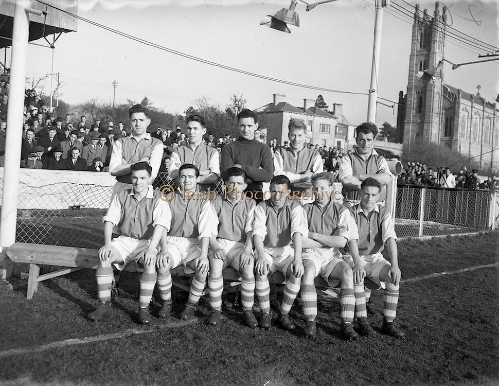 13/2/1955<br /> 2/13/1955<br /> 13 February 1955<br /> Soccer: St. Patrick Athletic v Cork at Chapelizod, Dublin. The St. Patricks Team.