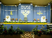 People Of The Year Awards..1986..24.11.1986..11.24.1986..24th November 1986..The 1986 People of the Year Awards,sponsored by New Ireland Assurance and the Rehabilitation Institute,were presented by An Taoiseach,Dr Garrett Fitzgerald at the Burlington Hotel,Dublin..The stage is set,an image of the podium on which the awards would be presented.