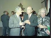 24/08/1984<br /> 08/24/1984<br /> 24 August 1984<br /> Opening of ROSC '84 at the Guinness Store House, Dublin. Mr Pat Murphy, ROSC Chairman, speaking with President Patrick Hillery, with Maeve Hillery on the right.