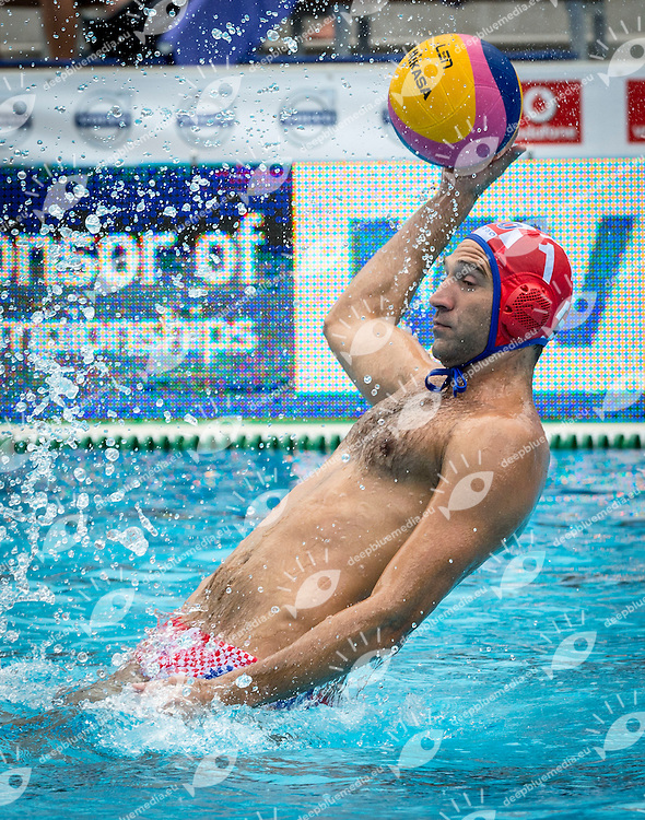 1 PAVIC Josip (C) (GK) CRO<br /> France (White) Vs Croatia (Blue) Men<br /> LEN European Water Polo Championships 2014 - July 14-27<br /> Alfred Hajos -Tamas Szechy Swimming Complex<br /> Margitsziget - Margaret Island<br /> Day04 - July 17<br /> Photo Giorgio Scala/Inside/Deepbluemedia