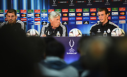 CARDIFF, WALES - Tuesday, August 12, 2014: Real Madrid Manager Carlo Ancelotti with Gareth Bale [R] during a press conference ahead of the UEFA Super Cup at Cardiff City Stadium.  (Pic by Pool/Getty Images/Propaganda)