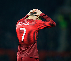MANCHESTER, ENGLAND - Tuesday, November 18, 2014: Portugal's captain Cristiano Ronaldo rues a missed chance against Argentina during the International Friendly match at Old Trafford. (Pic by David Rawcliffe/Propaganda)