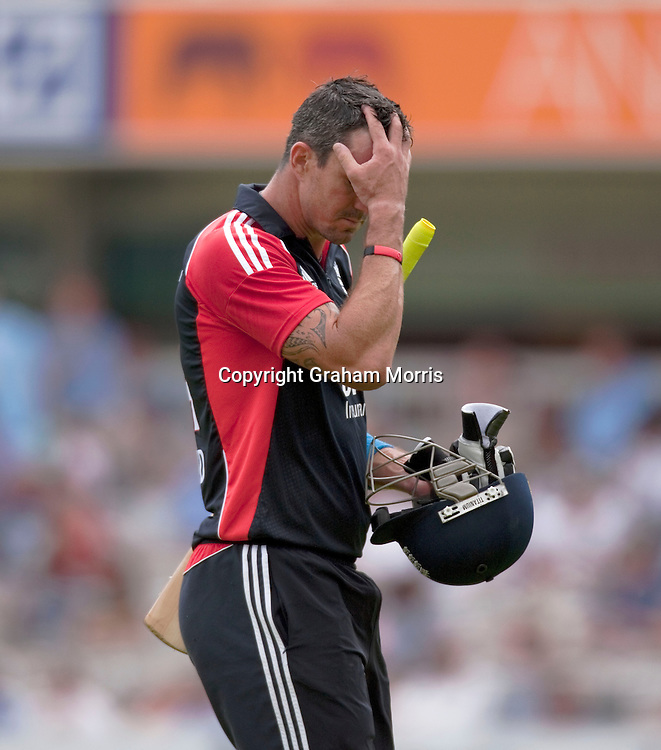 Kevin Pietersen after being caught during the third one day international between England and Sri Lanka at Lord's, London. Photo: Graham Morris (Tel: +44(0)20 8969 4192 Email: sales@cricketpix.com) 03/07/11