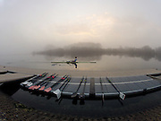 Caversham, Great Britain,  Tom SOLESBURY, Training session, before the November sculling Test and Pairs race.  Caversham Lake, GB Rowing,  Training Centre.  {DOW  {DATE} [Mandatory Credit. Peter Spurrier/Intersport Images] Sunrise, Ground Mist and Rain.