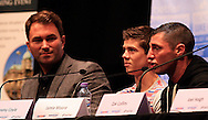 Picture by Richard Gould/Focus Images Ltd +44 7855 403186<br /> 22/06/2013<br /> Tommy Coyle (right) speaks about his fight with Drew Mathews (not pictured)  pictured during a press conference at Hull City Hall.