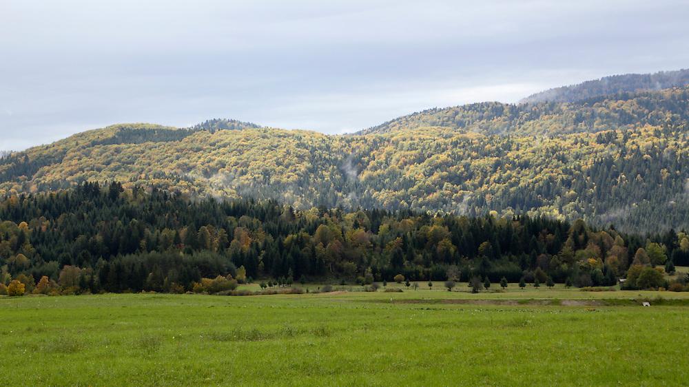 View towards Sneznik after the rains, Slovenia.
