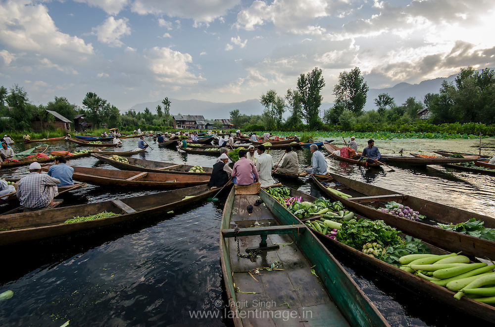 Vendors display their wares at an early morning floating vegetable market on the world famous Dal Lake, Srinagar, India.