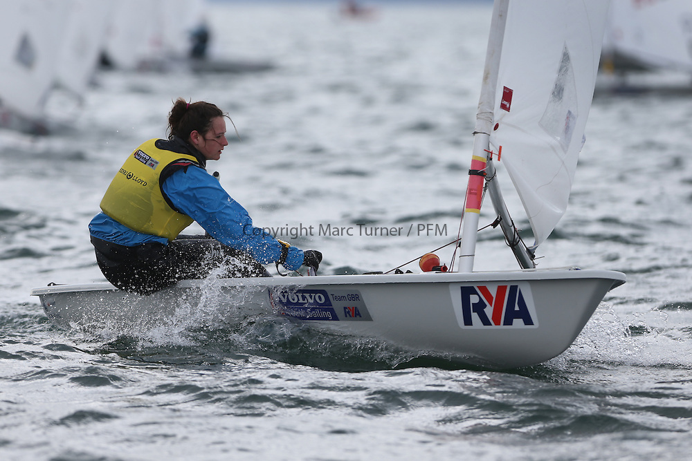 Day 2 of the RYA Youth National Championships 2013 held at Largs Sailing Club, Scotland from the 31st March - 5th April. ..204538, Ellie MEOPHAM, Fishguard Bay Yacht Club, Laser Radial...For Further Information Contact..Matt Carter.Racing Communications Officer.Royal Yachting Association.M: 07769 505203.E: matt.carter@rya.org.uk ..Image Credit Marc Turner / RYA..