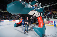 KELOWNA, CANADA - JANUARY 10: Greg Truman, camera operator of Shaw TV stands at the entrance to the ice of the Kelowna Rockets on January 10, 2015 at Prospera Place in Kelowna, British Columbia, Canada.  (Photo by Marissa Baecker/Shoot the Breeze)  *** Local Caption *** Greg Truman;