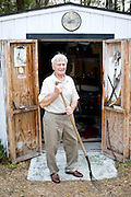 Pops Peterson by his shed in his backyard.  Pops is very proud of how self-sufficient he is and the yard work and housework he does all by himself at the age of 94.